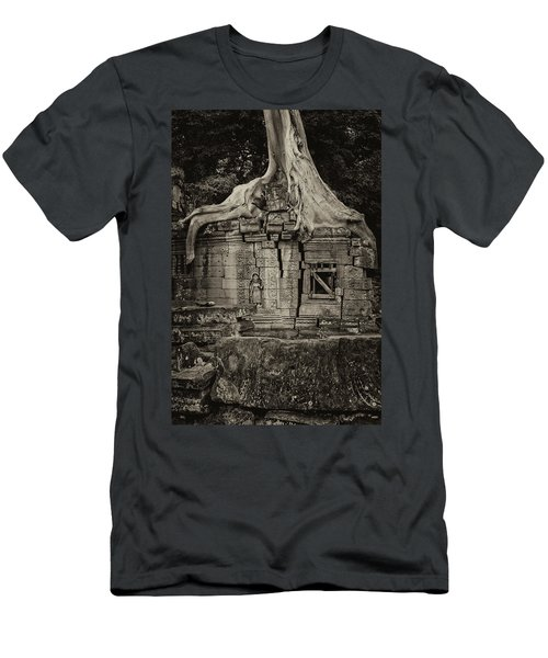 Men's T-Shirt (Slim Fit) featuring the photograph Roots In Ruins 5, Ta Prohm, 2014 by Hitendra SINKAR