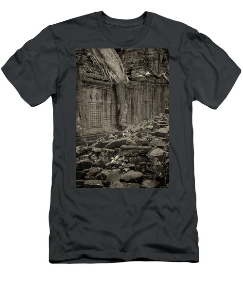 Men's T-Shirt (Slim Fit) featuring the photograph Roots In Ruins 6, Ta Prohm, 2014 by Hitendra SINKAR