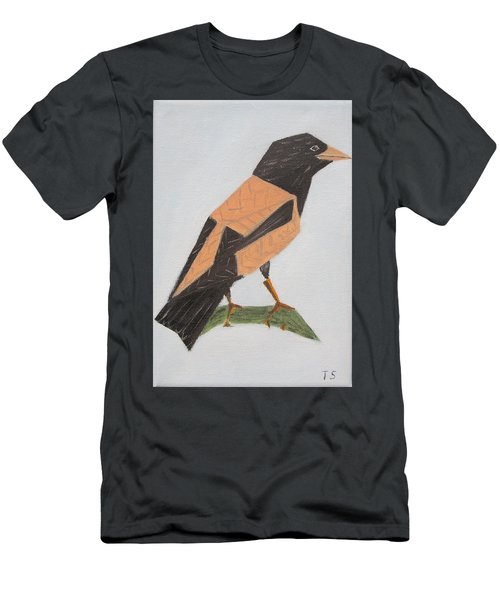 Rose-coloured Starling Men's T-Shirt (Slim Fit) by Tamara Savchenko
