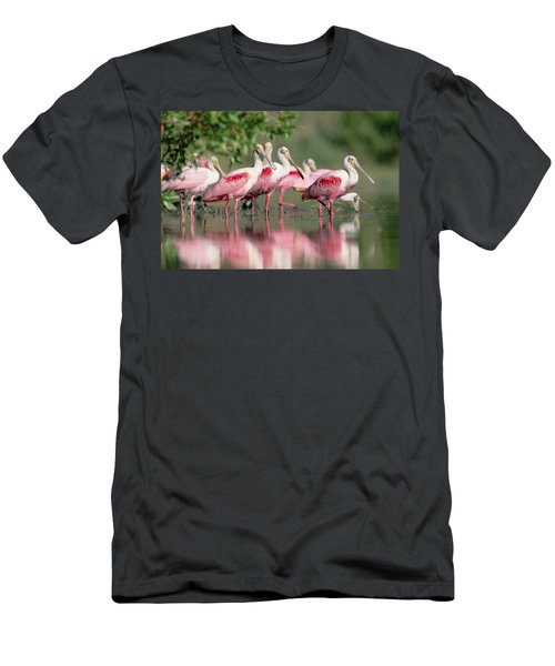 Men's T-Shirt (Athletic Fit) featuring the photograph Roseate Spoonbill Flock Wading In Pond by Tim Fitzharris