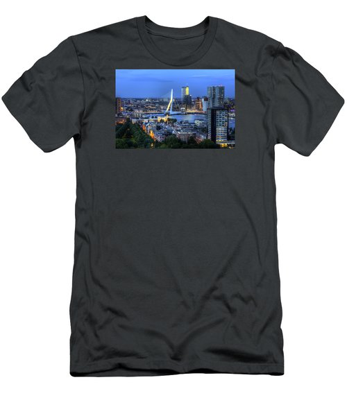 Men's T-Shirt (Slim Fit) featuring the photograph Rotterdam Skyline With Erasmus Bridge by Shawn Everhart