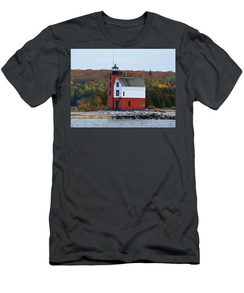 Round Island Lighthouse In October Men's T-Shirt (Athletic Fit)