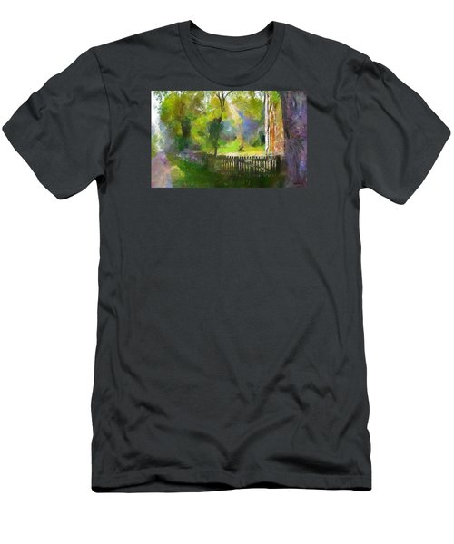 Men's T-Shirt (Slim Fit) featuring the painting Around The Cathedral by Wayne Pascall