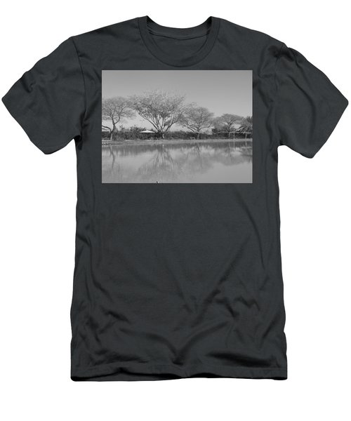 Men's T-Shirt (Athletic Fit) featuring the photograph Row Of Trees Near The Pond by Esther Newman-Cohen