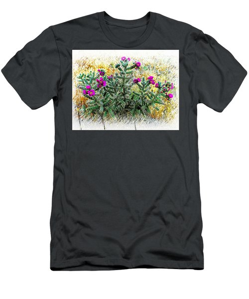 Royal Gorge Cactus With Flowers Men's T-Shirt (Slim Fit) by Joseph Hendrix