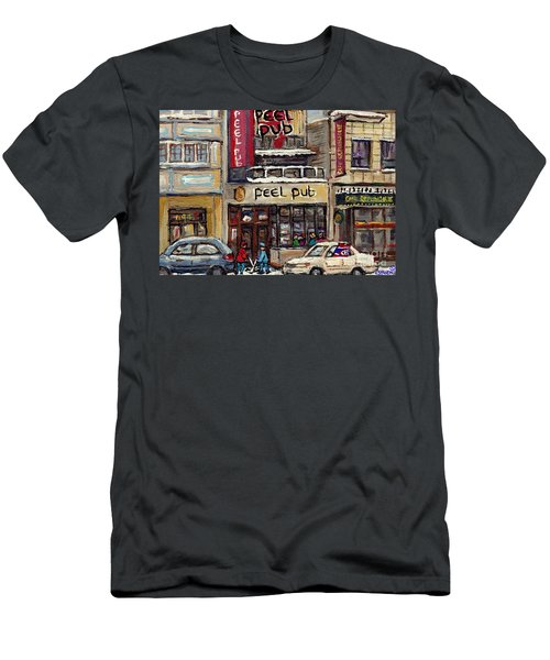 Rue Peel Montreal Winter Street Scene Paintings Peel Pub Cafe Republique Hockey Scenes Canadian Art Men's T-Shirt (Athletic Fit)