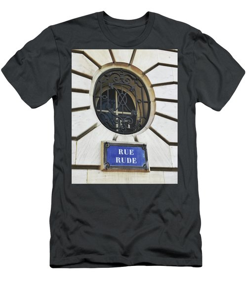 Men's T-Shirt (Athletic Fit) featuring the photograph Rue Rude, Paris by Frank DiMarco