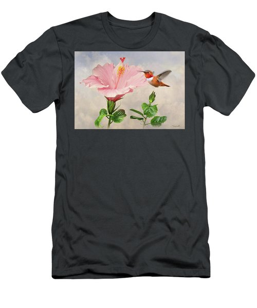Rufous Hummingbird And Pink Hibiscus Flower Men's T-Shirt (Athletic Fit)