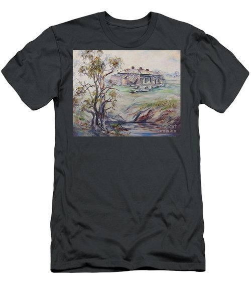 Men's T-Shirt (Athletic Fit) featuring the painting  Ruins Of Squatter's Arms Inn, Cookardinia. 2 Of Pair. by Ryn Shell