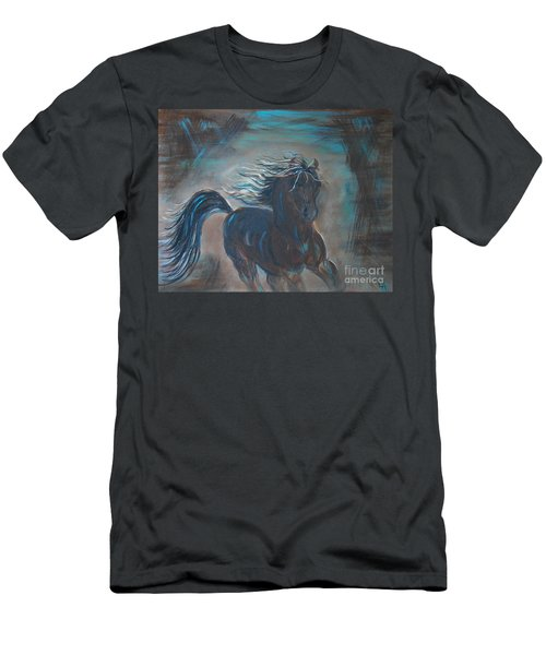 Men's T-Shirt (Slim Fit) featuring the painting Run Horse Run by Leslie Allen