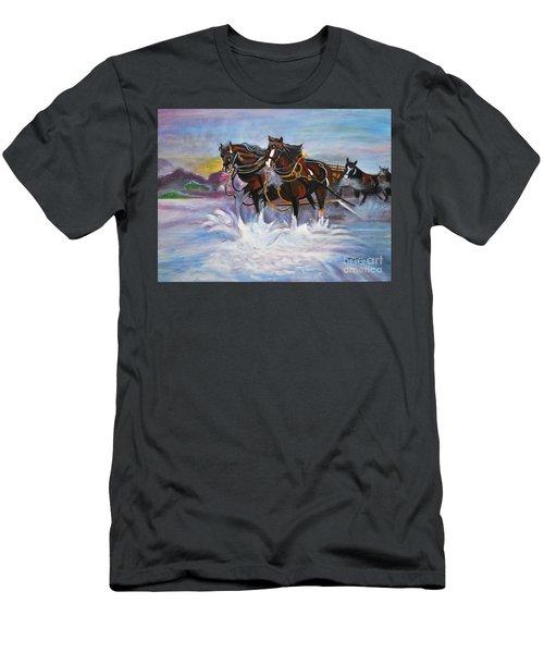 Running Horses- Beach Gallop Men's T-Shirt (Slim Fit)