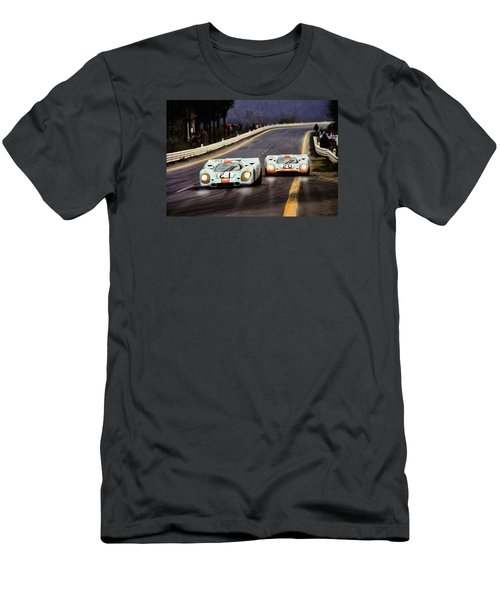 Running One Two Men's T-Shirt (Slim Fit) by Peter Chilelli