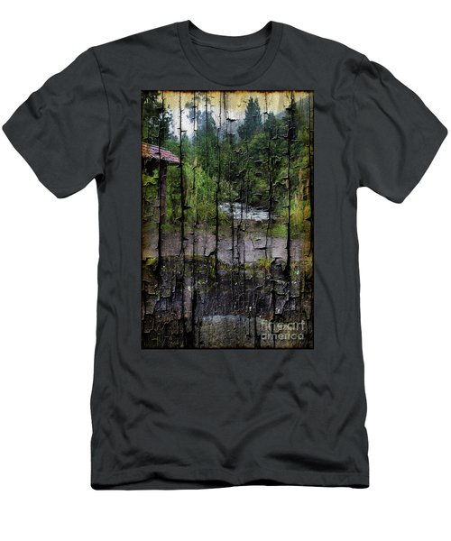 Rushing Cascade In The Andes - On Bark Men's T-Shirt (Athletic Fit)
