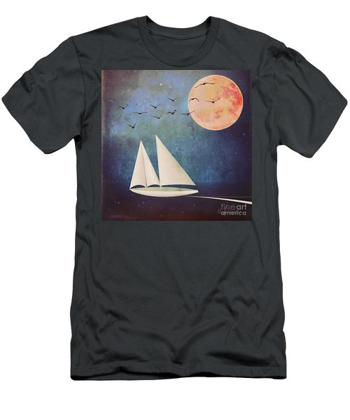 Men's T-Shirt (Slim Fit) featuring the digital art Sail Away by Alexis Rotella
