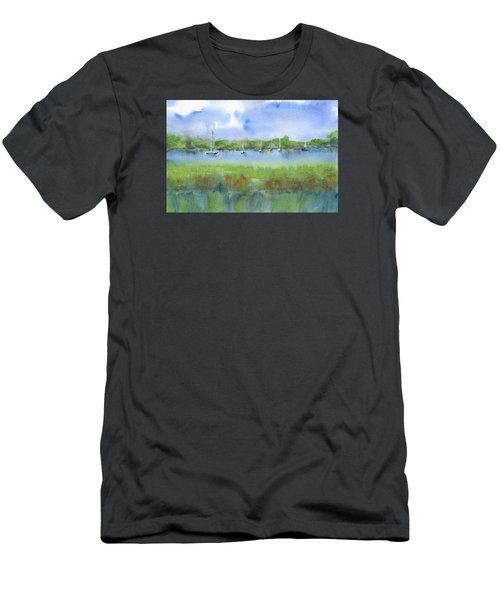Sailboats At Beaufort Men's T-Shirt (Slim Fit) by Frank Bright