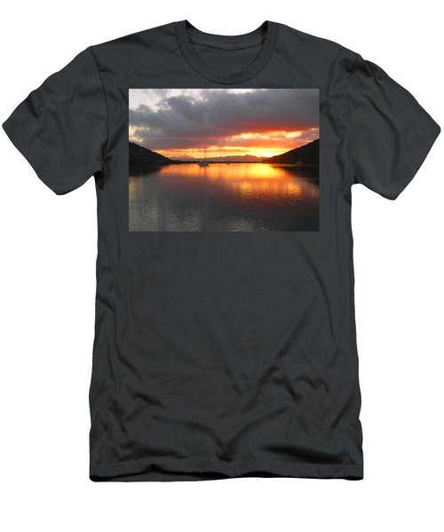 Sailboats At Sunrise In Puerto Escondido Men's T-Shirt (Athletic Fit)