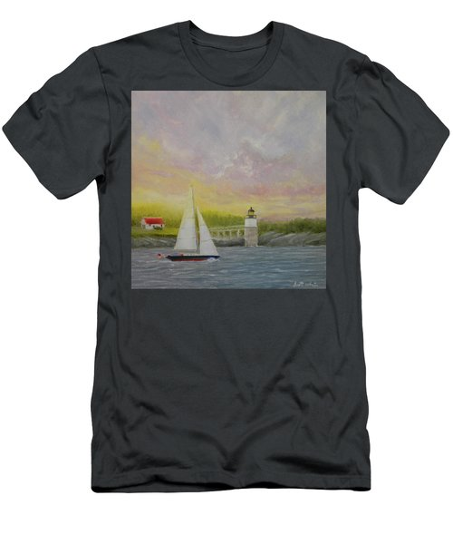 Sailing By Ram Island Men's T-Shirt (Athletic Fit)