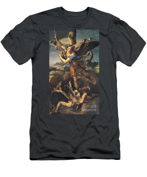 Saint Michael Overwhelming The Demon Men's T-Shirt (Athletic Fit)