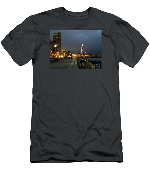 Men's T-Shirt (Slim Fit) featuring the photograph San Francisco Bay At Night by Haleh Mahbod