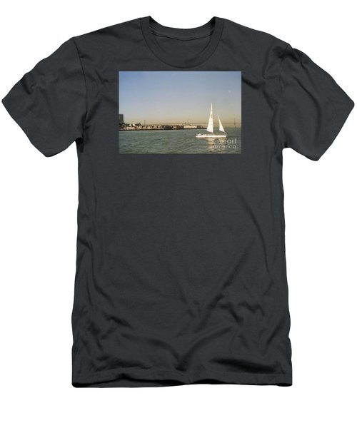 San Francisco Bay Sail Boat Men's T-Shirt (Slim Fit) by Ted Pollard