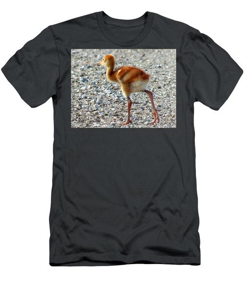 Men's T-Shirt (Slim Fit) featuring the photograph Sandhill Crane Chick 003 by Chris Mercer
