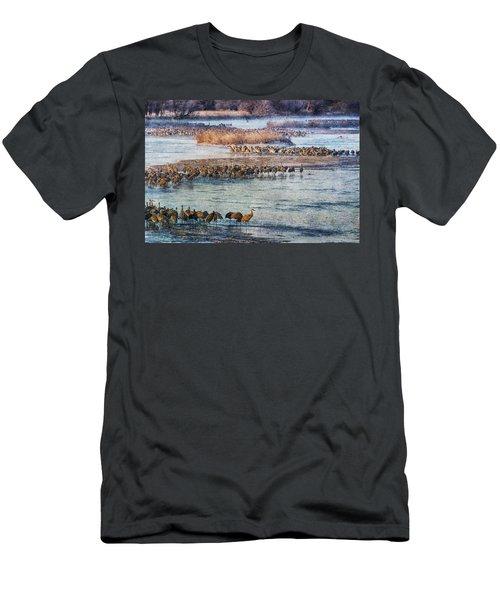 Sandhill Crane Platte River - Textured Men's T-Shirt (Athletic Fit)