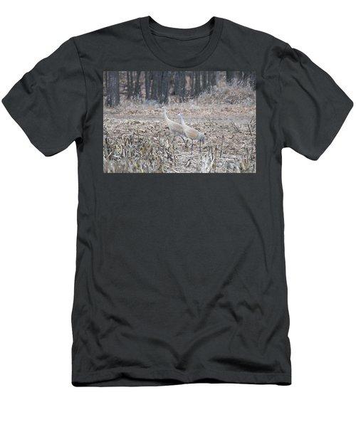 Men's T-Shirt (Slim Fit) featuring the photograph Sandhill Cranes 1171 by Michael Peychich
