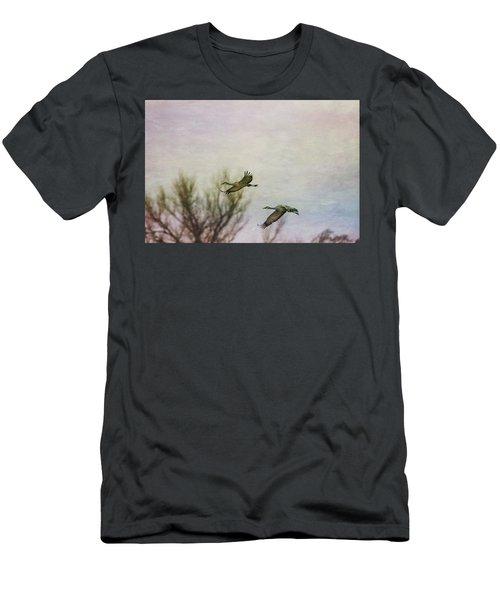Sandhill Cranes Flying - Texture Men's T-Shirt (Athletic Fit)