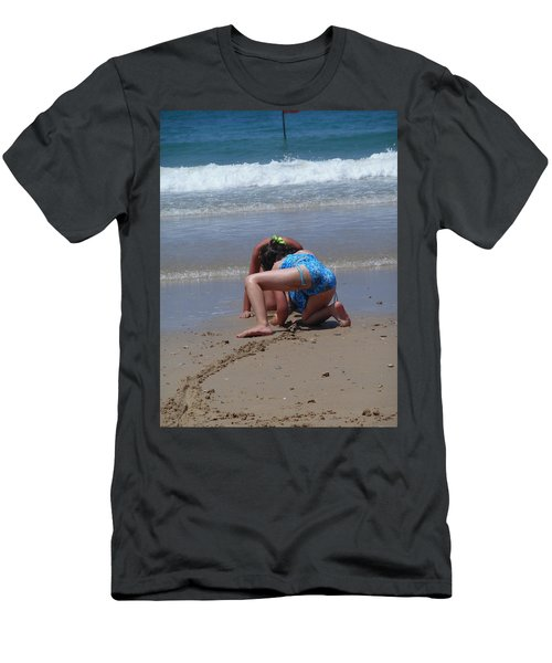 Men's T-Shirt (Athletic Fit) featuring the photograph Sandy Construction Workers by Esther Newman-Cohen