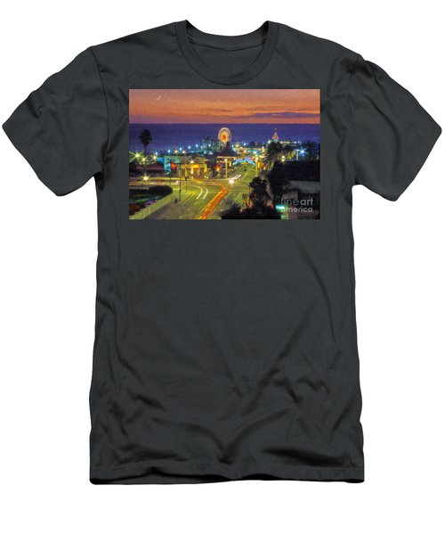 Men's T-Shirt (Slim Fit) featuring the photograph Santa Monica Ca  Pacific Park Pier by David Zanzinger
