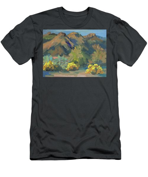Men's T-Shirt (Slim Fit) featuring the painting Santa Rosa Mountains And Brittle Bush by Diane McClary