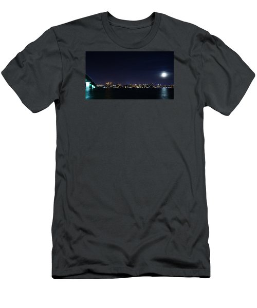 Sarasota Cityscape-night-full Moon Men's T-Shirt (Athletic Fit)
