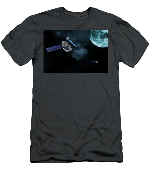 Satellites In Orbit Around The Moon Men's T-Shirt (Slim Fit) by Christian Lagereek