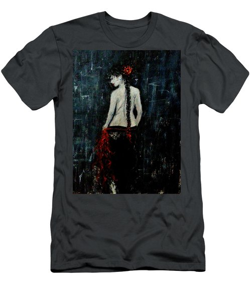 Men's T-Shirt (Slim Fit) featuring the painting Saturday Evening  by Cristina Mihailescu