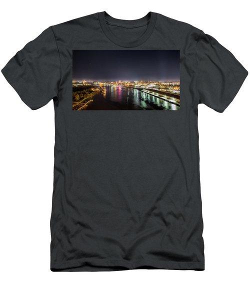 Savannah Georgia Skyline Men's T-Shirt (Slim Fit) by Robert Loe