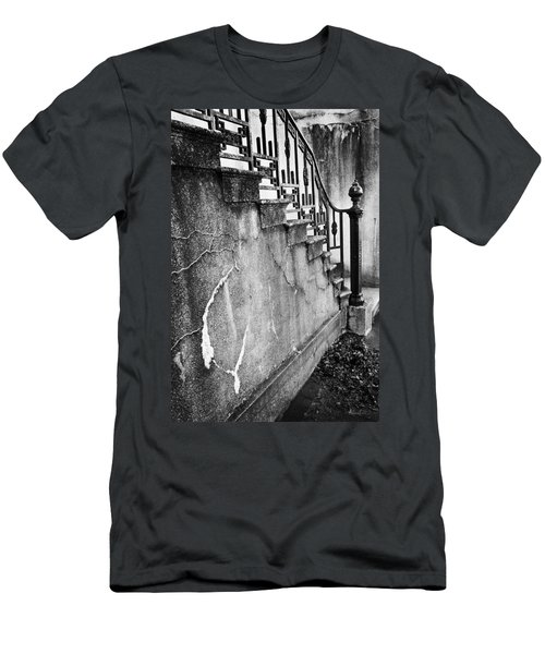 Savannah Stairway Black And White Men's T-Shirt (Slim Fit) by Renee Sullivan
