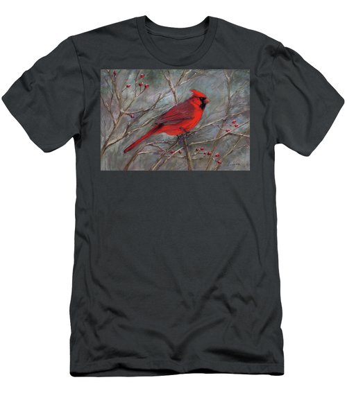 Men's T-Shirt (Slim Fit) featuring the pastel Scarlet Sentinel by Vikki Bouffard