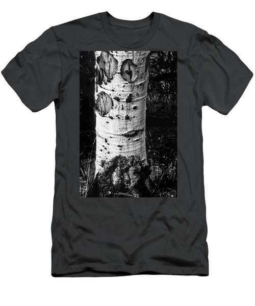 Scarred Old Aspen Tree Trunk In Colorado Forest Men's T-Shirt (Slim Fit) by John Brink