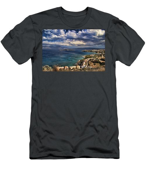 Scenic View Of Eastern Crete Men's T-Shirt (Slim Fit) by David Smith