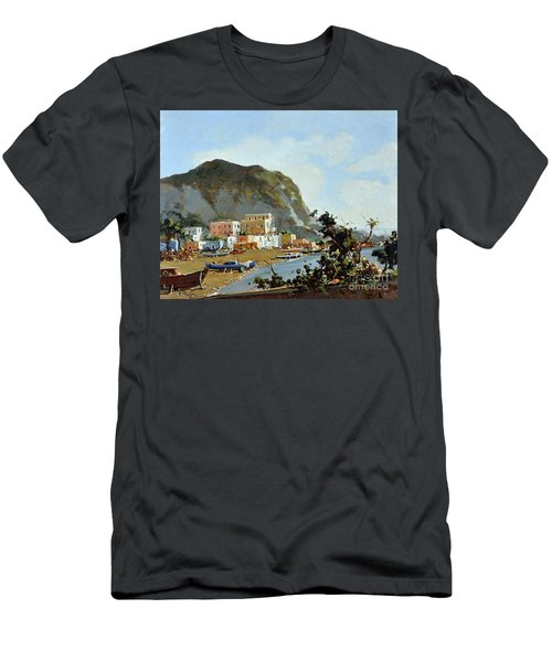 Sea And Mountain With Boats Men's T-Shirt (Athletic Fit)