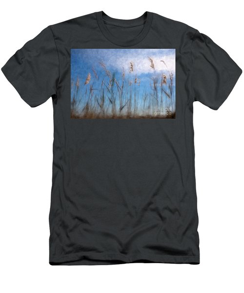 Men's T-Shirt (Slim Fit) featuring the painting Sea Oats And Sky On Outer Banks Ap by Dan Carmichael