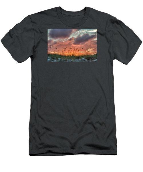 Men's T-Shirt (Slim Fit) featuring the digital art Sea Oats Sunset by Phil Mancuso