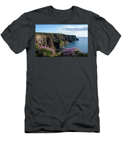 Men's T-Shirt (Athletic Fit) featuring the photograph Sea Pink On The Cliffs by Aidan Moran