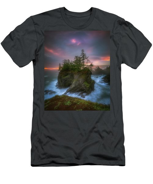 Sea Stack With Trees Of Oregon Coast Men's T-Shirt (Athletic Fit)
