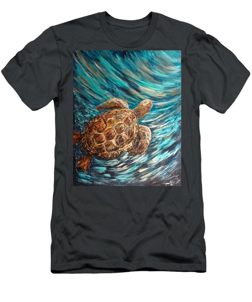 Sea Turtle Wave Guam Men's T-Shirt (Athletic Fit)