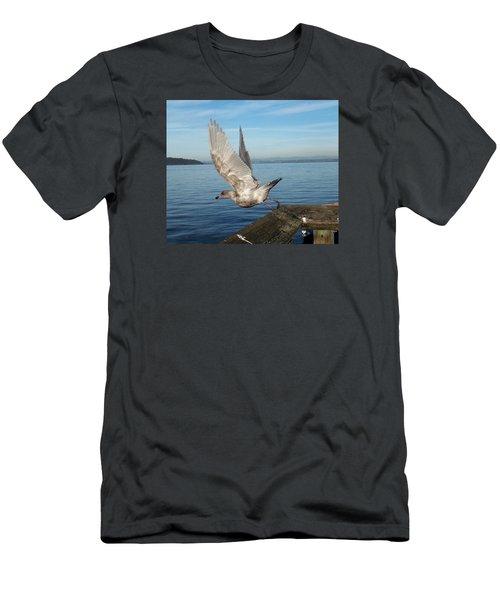Seagull Taking Off Men's T-Shirt (Slim Fit) by Karen Molenaar Terrell