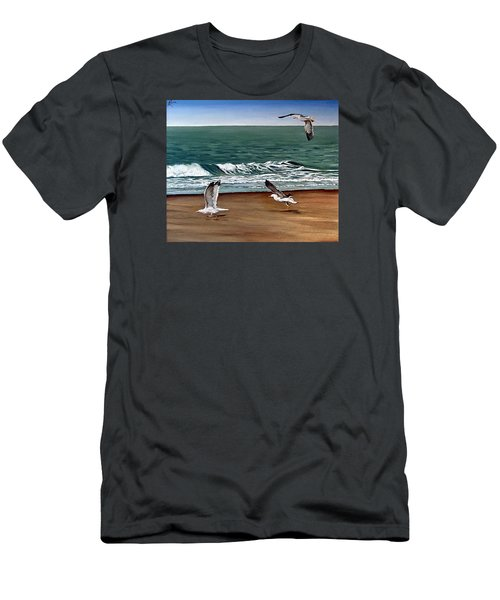 Men's T-Shirt (Slim Fit) featuring the painting Seagulls 2 by Natalia Tejera