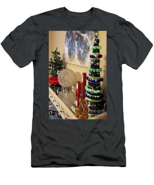 Seahawk Christmas Men's T-Shirt (Slim Fit) by Judyann Matthews