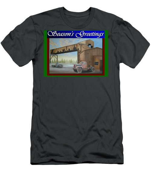 Men's T-Shirt (Slim Fit) featuring the painting Season's Greetings Old Mine by Stuart Swartz