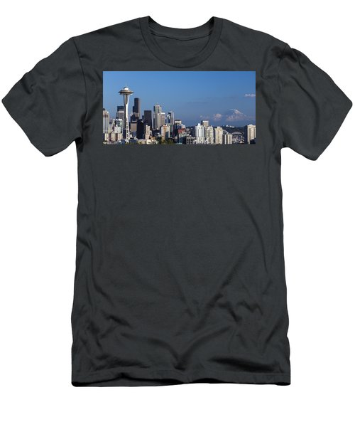 Seattle And Mt Rainier Men's T-Shirt (Slim Fit) by Ed Clark